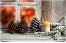 Christmas Cones and Candle