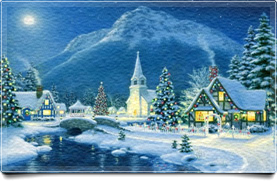 Winter Village and Mountain