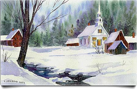 Winter Stream and Church